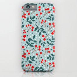 Festive Red Berries iPhone Case
