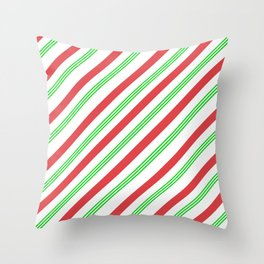 Red and Green Candy Cane Stripes Throw Pillow