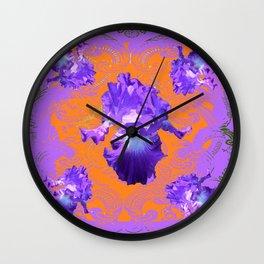 Decorative Lilac Purple Iris Green-Orangey Art Pattern Wall Clock