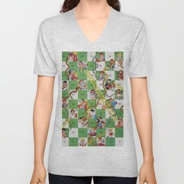 Vintage snakes and ladders Unisex V-Neck