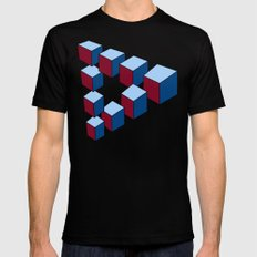 Geometry - Optical Illusion - Cubes in perspective - 3D - 3 focal points Mens Fitted Tee MEDIUM Black