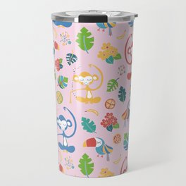 Meditating Yoga Jungle Animals Pink Travel Mug