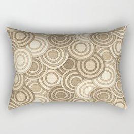 Geometric Mid Century Modern Burlap Circles Rectangular Pillow