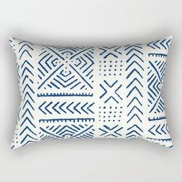 Line Mud Cloth // Ivory & Navy Rectangular Pillow