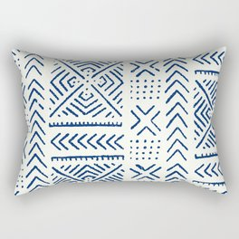 Line Mud Cloth // Ivory & Navy Rectangular Pillow
