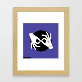 Sign Language (ASL) Interpreter – White on Black 02 Framed Art Print