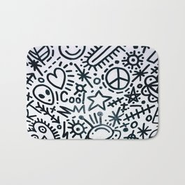 black and white graphics Bath Mat