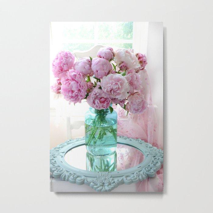 Peonies In Aqua Vase Vintage Romantic Peony Bedroom Decor Metal Print by  kathyfornal