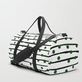 Modern black forest green polka dots stripes Duffle Bag