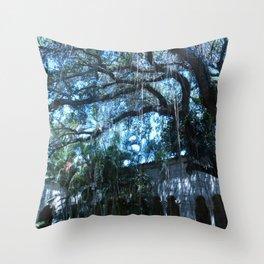 Spanish Monastery Raining Tree Throw Pillow