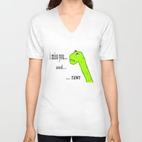postcard V-neck T-shirts featuring Rawr postcard by siti fadillah