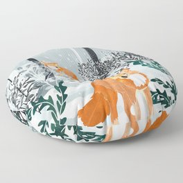 Fox Snow Walk Floor Pillow