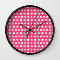 polka dots Wall Clocks featuring Polka Dots by Ornaart