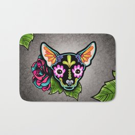 Chihuahua in Black - Day of the Dead Sugar Skull Dog Bath Mat