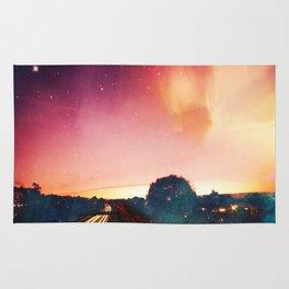 light speed - highway at sunrise Rug