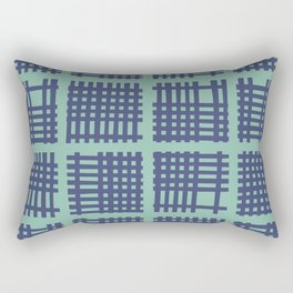 Mid Century Modern Abstract Squares Turquoise and Blue 552 Rectangular Pillow