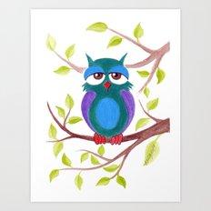 Sleepy owl cartoon Art Print