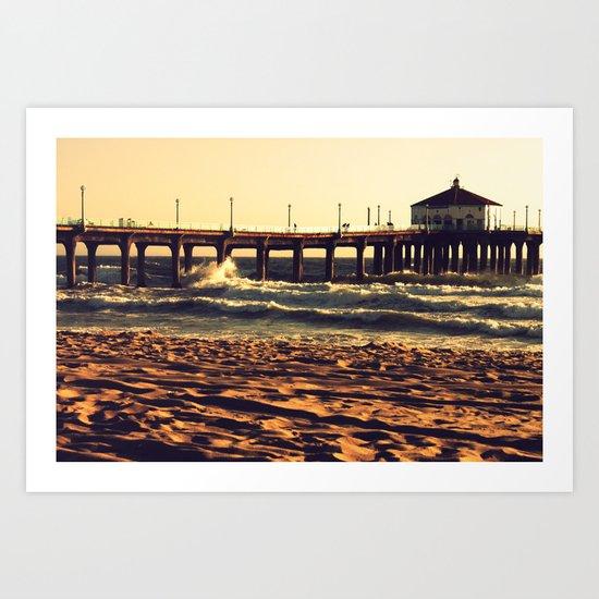 Crashing on the Manhattan Beach Pier Art Print