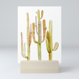 Minimalist Cactus Drawing Watercolor Painting Southwestern Green Cacti Mini Art Print