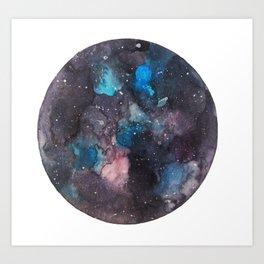 Galaxy round shape with stars Art Print