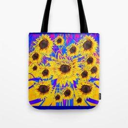 SURREAL FUCHSIA BLUEW SUNFLOWERS  MODERN ART Tote Bag