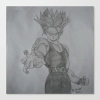 dragonball Canvas Prints featuring Dragonball Z Trunks Sketch by bernardtime