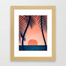 Sunset Palms - Peach Navy Palette Framed Art Print