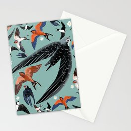 Swallows Martins and Swift pattern Turquoise Stationery Cards