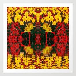 MODERN GARDEN DECORATIVE RED YELLOW DAFFODILS Art Print