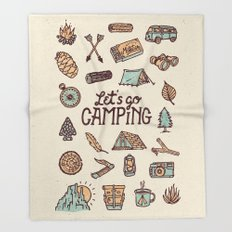 Lets Go Camping Throw Blanket
