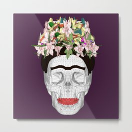 Skull Kahlo Metal Print
