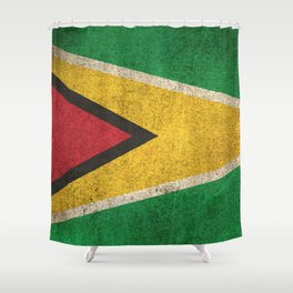 Old and Worn Distressed Vintage Flag of Guyana Shower Curtain