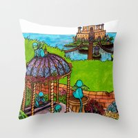 monkey island Throw Pillows featuring Monkey Island by Charlie L'amour