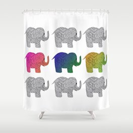 Nine Elephants Shower Curtain