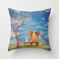 Elephant and rabbit sit on a bench on the glade Throw Pillow