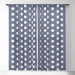Navy Blue Polka Dots Minimal Sheer Curtain