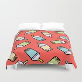 Bubble Tea Pattern in Red Duvet Cover