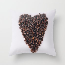 Heart of coffee beans Throw Pillow