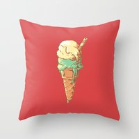 ice cream Throw Pillows featuring Ice Cream by Fightstacy