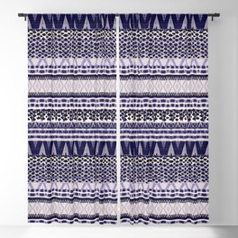 Bohemian Indigo Pattern, Ethnic Zigzag Print in Bleu Colours. Blackout Curtain