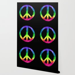 Rainbow Watercolor Peace Sign - Black Background Wallpaper