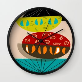 Mid-Century Modern Abstract Half Moons Wall Clock