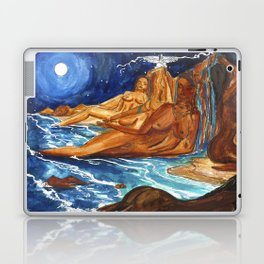 Moon Bathing Babes - Watercolor painting of Earth and Ocean Goddesses Laptop & iPad Skin