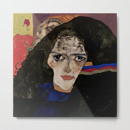 "Egon Schiele ""Mourning Woman"" Metal Print"