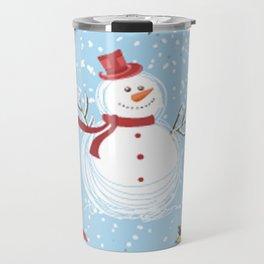 Christmas Elements Snowman Design Pattern Travel Mug