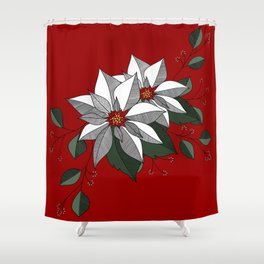 Holiday Flowers Shower Curtain