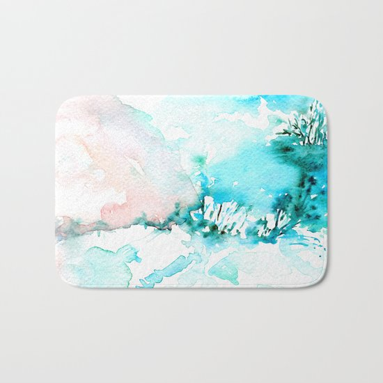 Cotton mountains -abstract watercolor Bath Mat