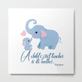 Elephant Mommy & Me Metal Print