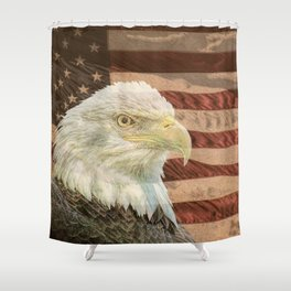 Rustic Bald Eagle on American Flag A213 Shower Curtain
