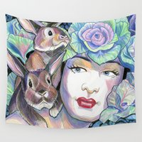 bunnies Wall Tapestries featuring Bunnies by Thea Maia